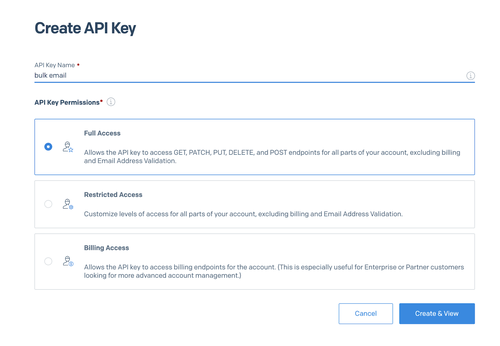 """Screenshot of the UI for creating a SendGrid API key. The key is named """"bulk email"""" and the permissions selected are """"Full Access."""""""