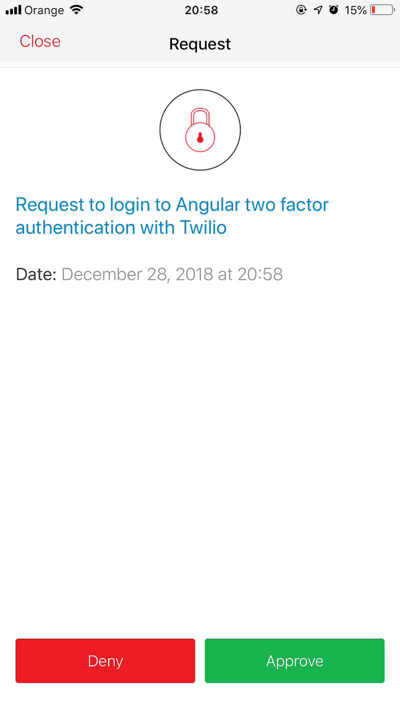 Demonstration of Authy login request with Deny & Approve