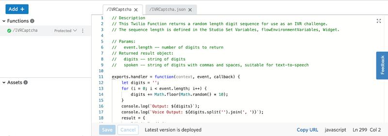 IVR CAPTCH Twilio Function example