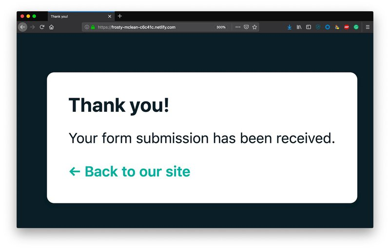 Netlify form submission success dialog