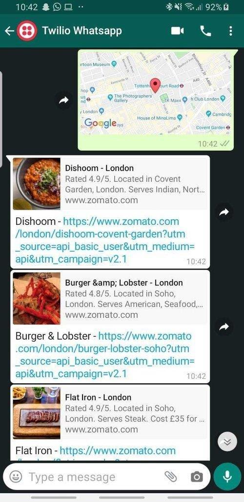 Captura de tela do WhatsApp mostrando respostas com uma lista de restaurantes a uma mensagem com localização geográfica