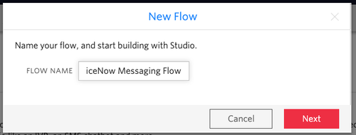 Forma para crear un nuevo flujo de mensajería