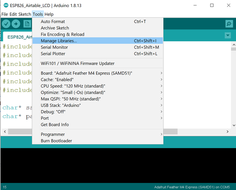Manage Libraries in the Arduino IDE