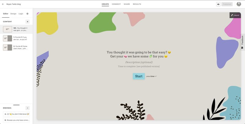 Typeform web page showing the imported template for the unique holiday gift made with Typeform, JavaScript, and Twilio SMS API
