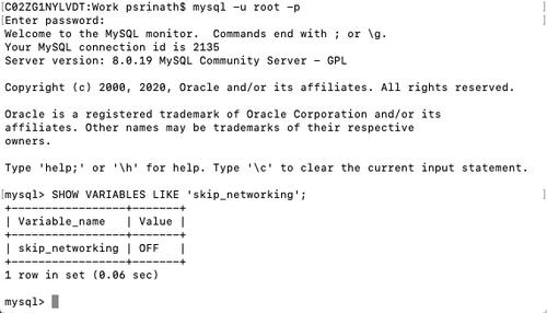 Logging into MySQL locally