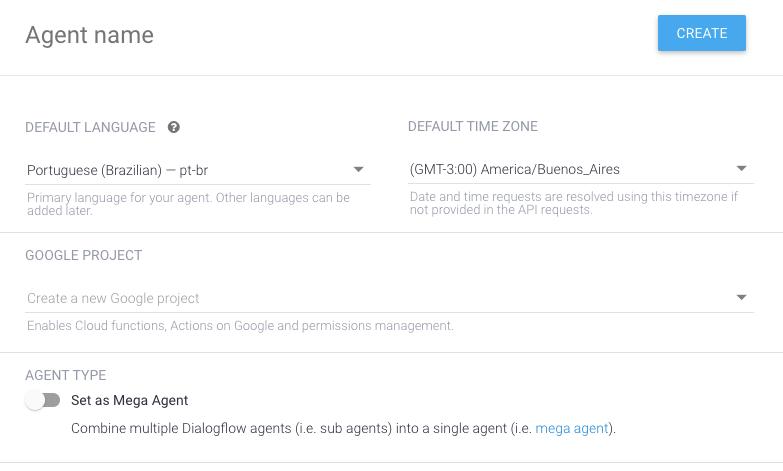 Detalhe da janela de criação de novo agente no DialogFlow
