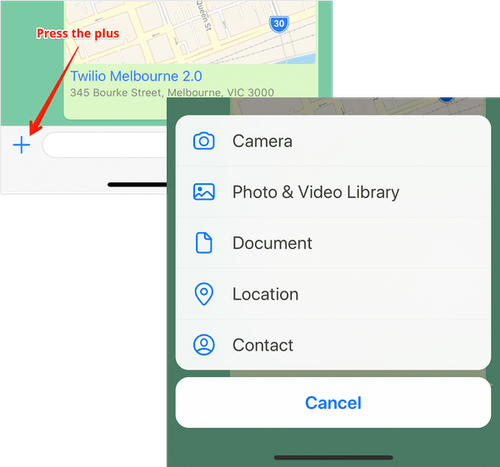 No aplicativo WhatsApp, pressione o botão plus (mais) ao lado do espaço reservado para entrada de texto e escolha o local no menu.