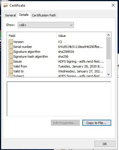 ADFS Certificate Details Tab