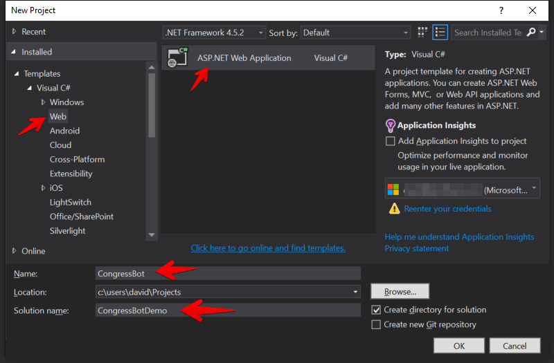 Visual Studio - New ASP.NET Web Application