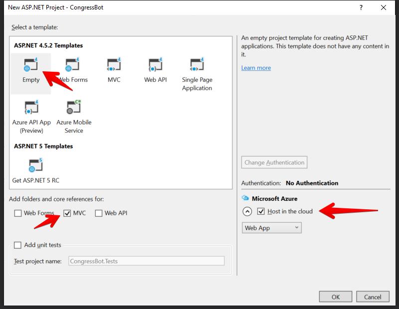 Visual Studio - 新規 ASP.NET Project