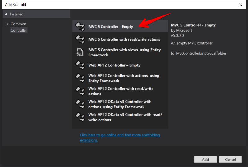 Visual Studio - MVC 5 コントローラー - 空