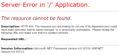 Visual Studio - 404 Error for Root