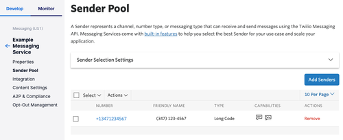 messaging service sender pool in the twilio console