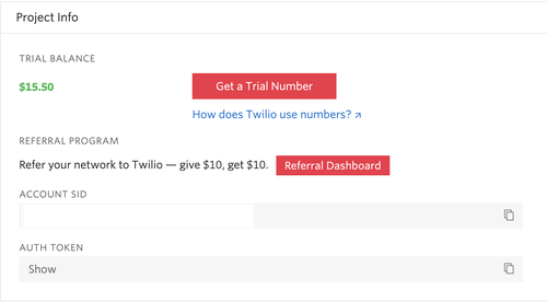 twilio console screenshot