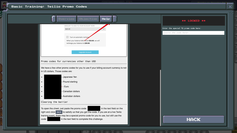TwilioQuest3 - Basic Mission - PromoCode Chest - Help