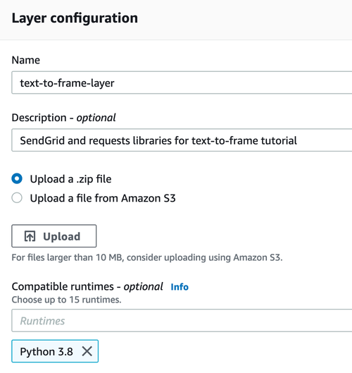 Lambda layer configuration