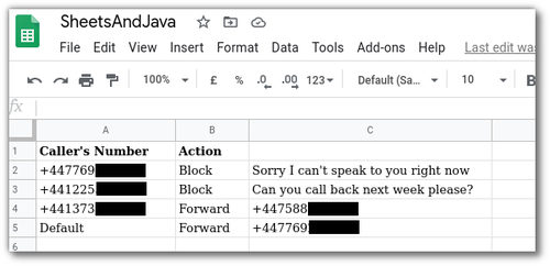"Screenshot of a Google Sheet with Columns for ""Caller's Number"" and ""Action"". Action is either ""Block"" (with a message) or ""Forward"" (to another phone number)"
