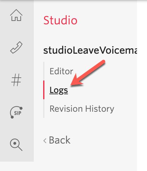 View the Studio execution logs