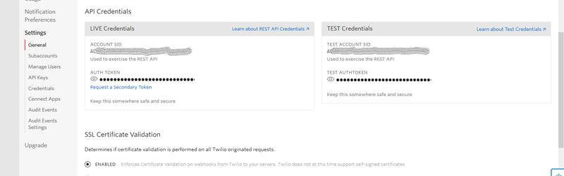 Retrieve Twilio API credentials