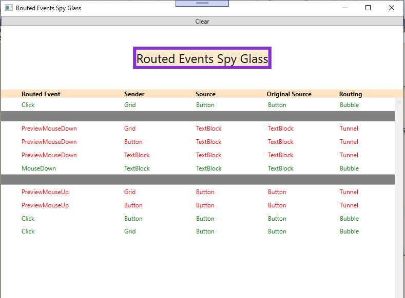 Routed Events Spy Glass app screenshot - left click