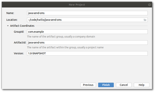 Screenshot of IDE New Maven Project wizard. An equivalent setup is described as a code snippet in the prose.