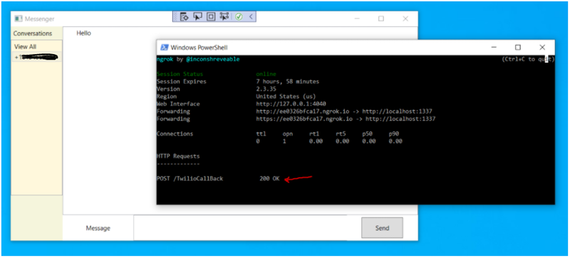 Screenshot of running application with ngrok console window