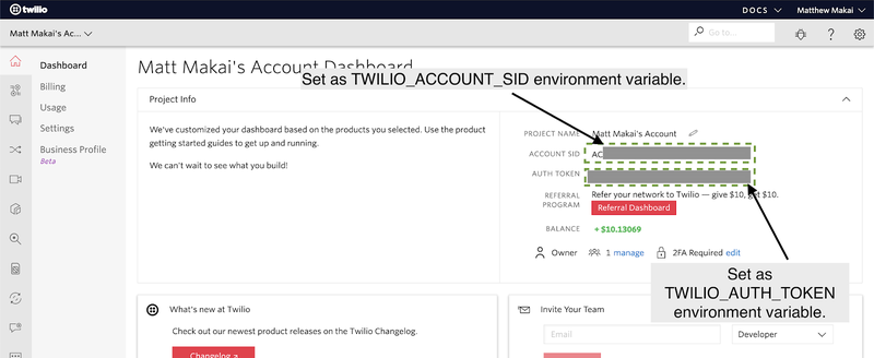 Twilio Account Number Dashboard