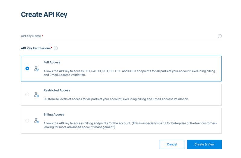 Create API Key modal
