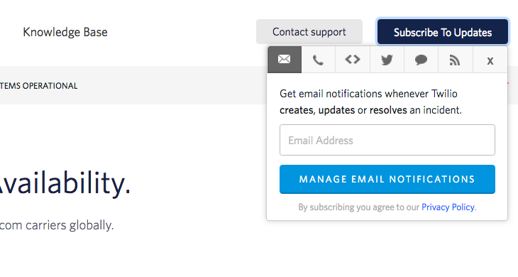 Change subscriber settings on Status Page