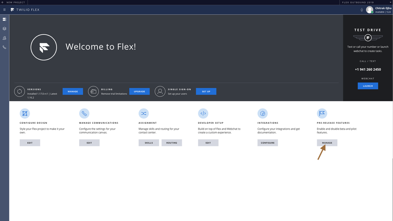 "The Flex Admin View with an arrow pointing to a button labeled ""manage"" for pre release features"