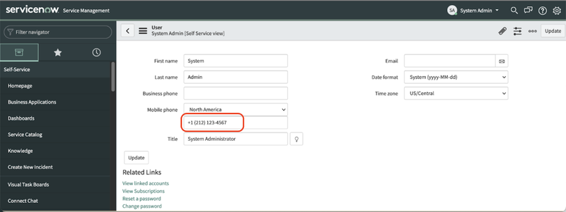 A screenshot of the System Admin section of the ServiceNow dashboard