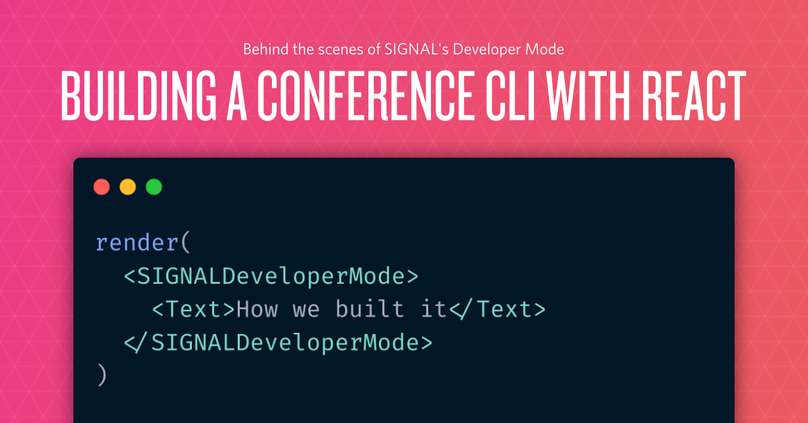 "decorative header image ""Building a conference CLI with React"""