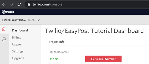get a twilio trial number