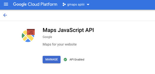 Google Cloud Platform - Maps Javascript API enable page