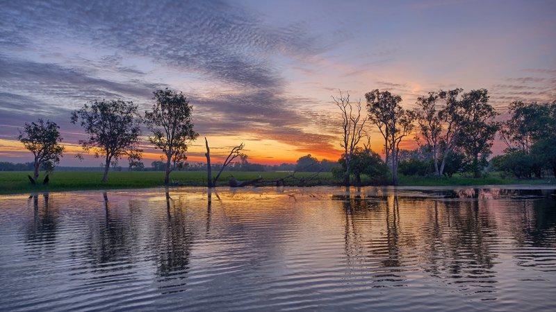 Sunset over Yellow Waters Billabong, Kakadu National Park, NT, Australia