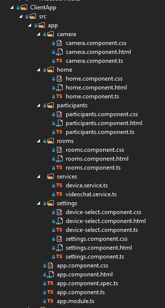 Estructura de carpetas de ASP.NET Core y de la app de Twilio Video de Angular