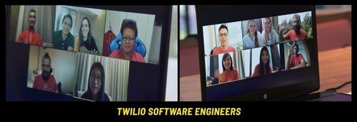 The candidates meet the Twilio team on a video chat