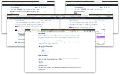 screenshot of multiple browser windows with pull requests for adding docs in multiple languages