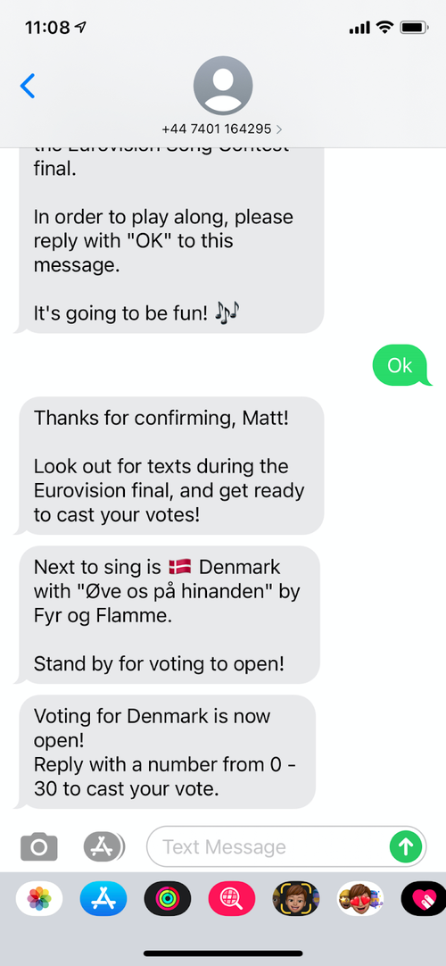 SMS telling you the voting is now open and you can reply with anything between 0 and 30