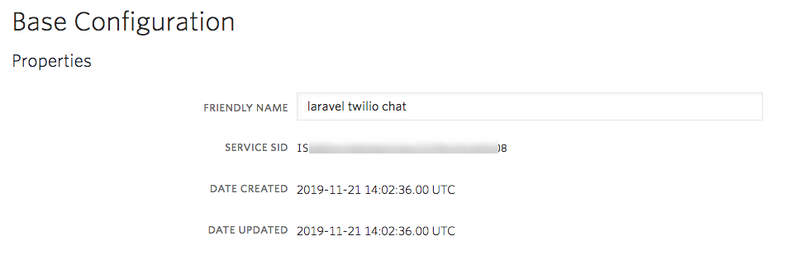 Twilio Programmable Chat Configuration