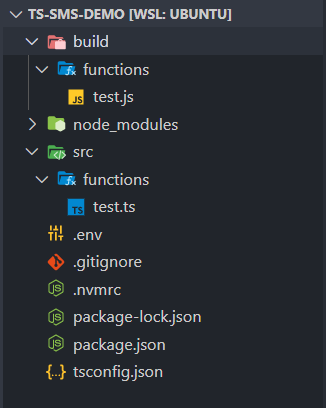 A view of the TypeScript source file and the output.