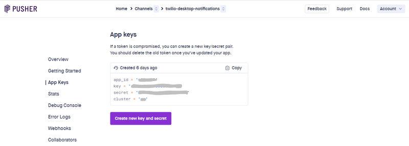 Pusher API Keys dashboard