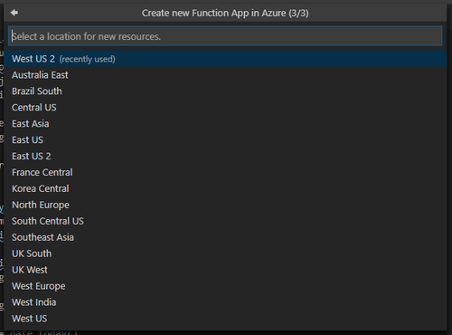 select region for azure function