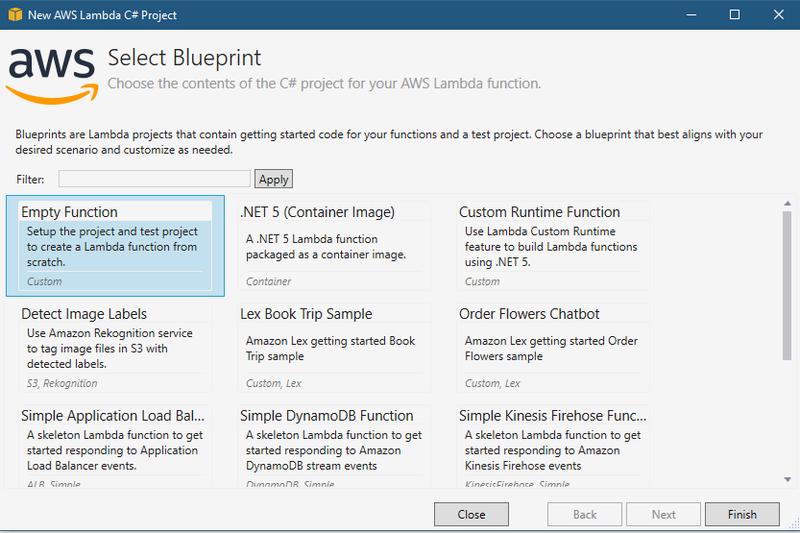 AWS project Blueprint selection panel
