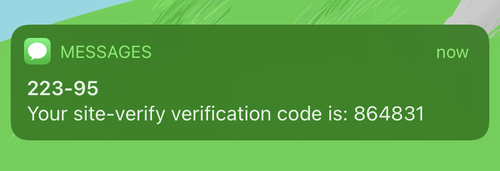 notification with verification code 864831