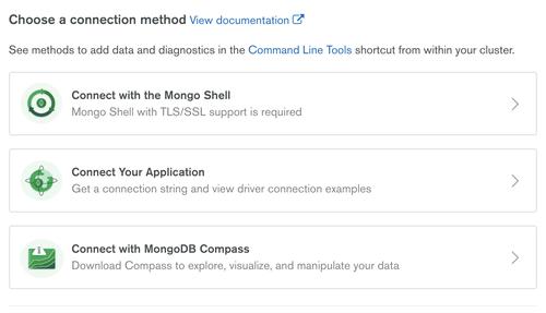 Connection method with MongoDB