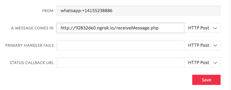 """screenshot of WhatsApp sandbox configuration inside the Twilio console. The field """"A MESSAGE COMES IN"""" has been filled with the url """"http://92832de0.ngrok.io/receiveMessage.php"""""""