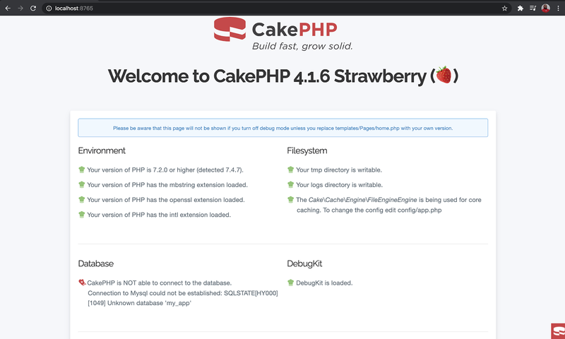 CakePHP welcome screen