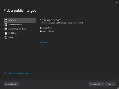 Visual Studio Pick a publish target dialog box screenshot