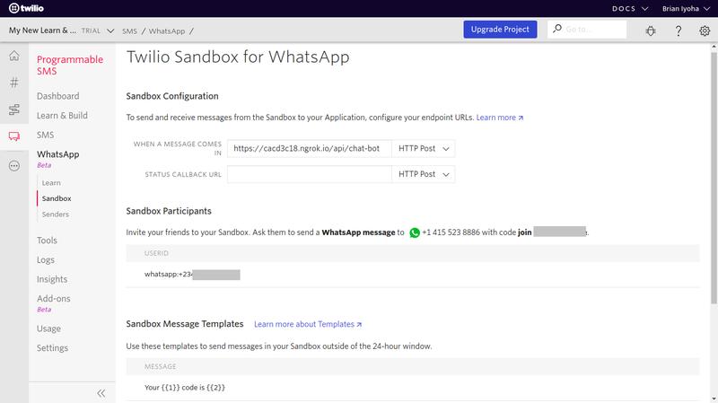 Sandbox da Twilio para WhatsApp